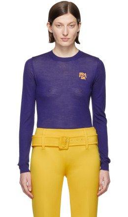 Prada - Blue Wool Logo Sweater