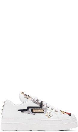 Prada - White Robot Platform Sneakers