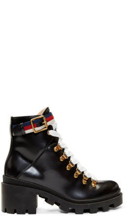 Gucci - Black Leather Sylvie Boots