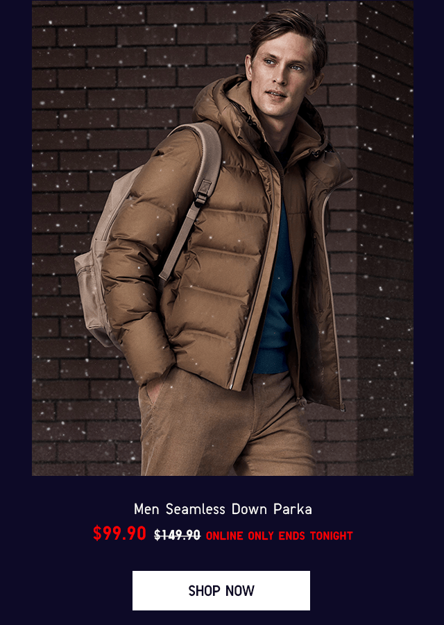 MEN SEAMLESS DOWN PARKA $99.90