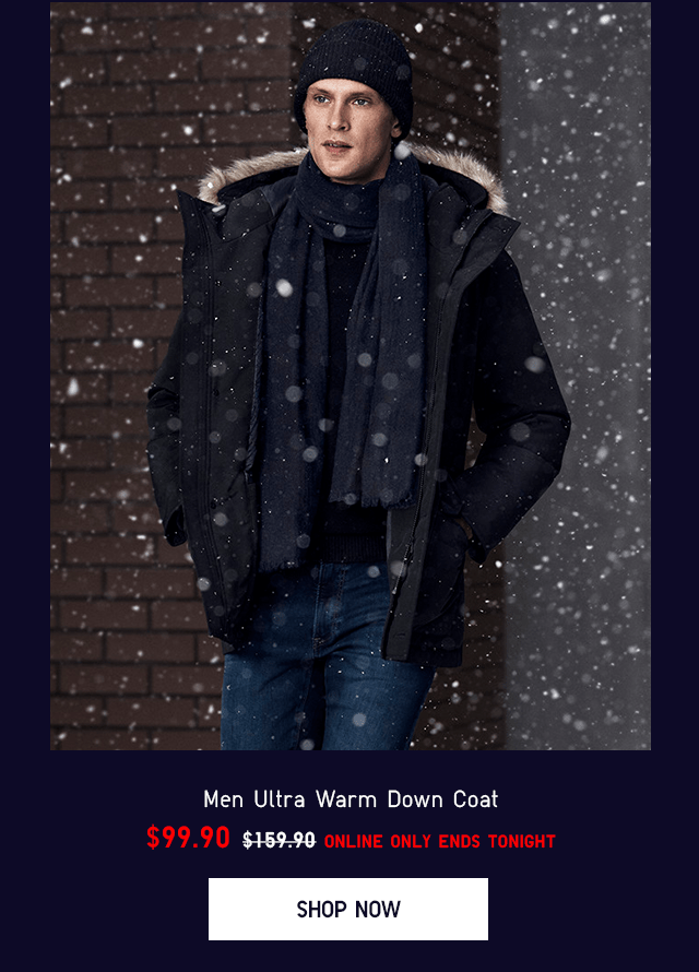 MEN ULTRA WARM DOWN COAT $99.90