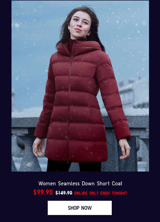 WOMEN SEAMLESS DOWN LONG COAT $99.90