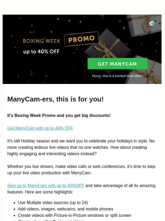Visicom Media: 🎁 ManyCam Boxing Week Promo 🎁 up to 40% OFF