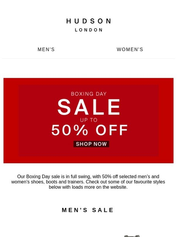 Hudson Shoes: BOXING DAY SALE   Up to