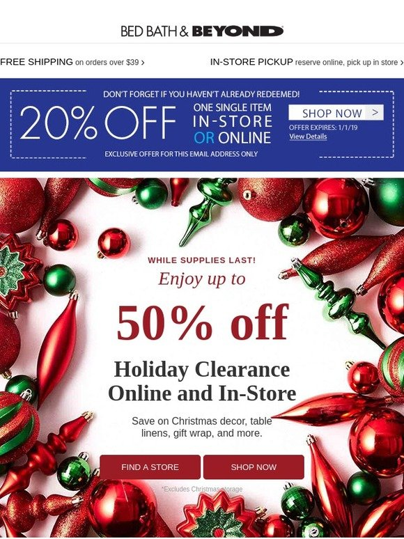 Bed Bath And Beyond Christmas Eve Hours.Bed Bath And Beyond Semi Annual Clearance Event Up To 50