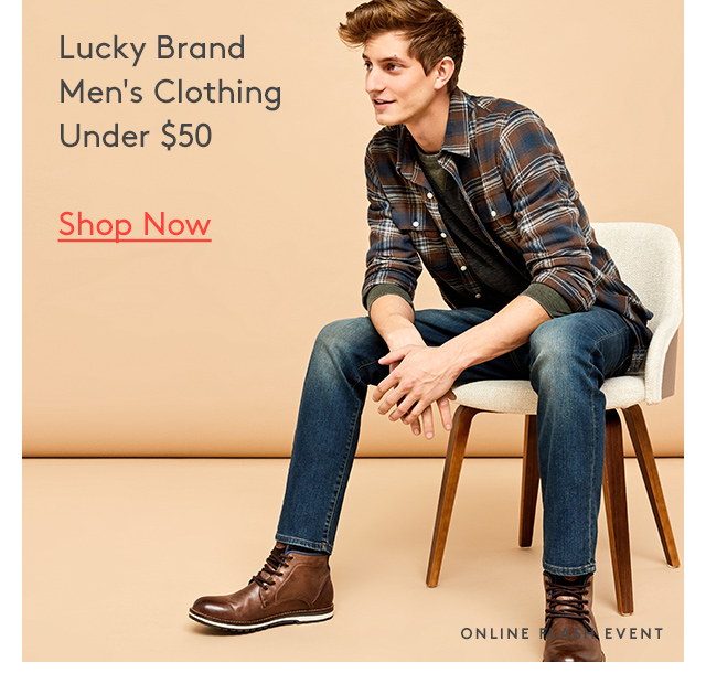 Lucky Brand | Men's Clothing | Under $50 | Shop Now | Online Flash Event