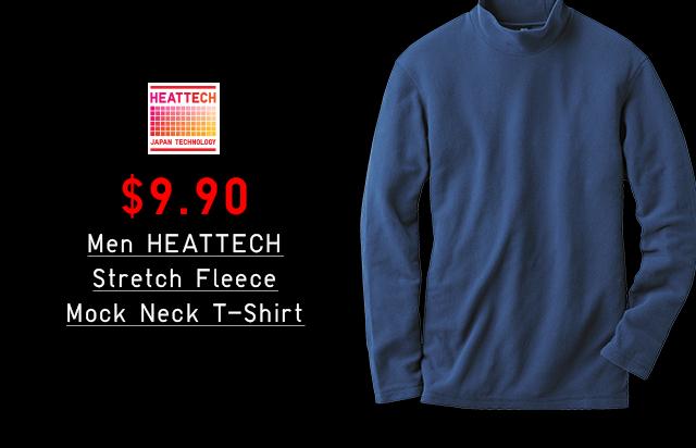 $9.90 MEN HEATTECH STRETCH FLEECE MOCK NECK T-SHIRT