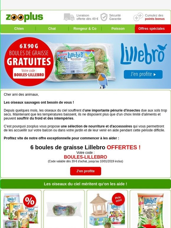 Zooplus FR  Vite   6 boules de graisse offertes et toujours les meilleurs  prix !   Milled ebef69e1ad39
