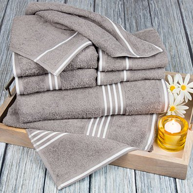 Lavish Home Rio 8 Piece 100% Cotton Towel Set - Silver