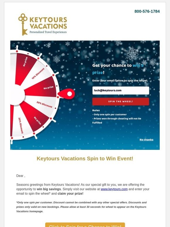 Keytours: -Try Your Luck & Spin to Win a Special Prize on