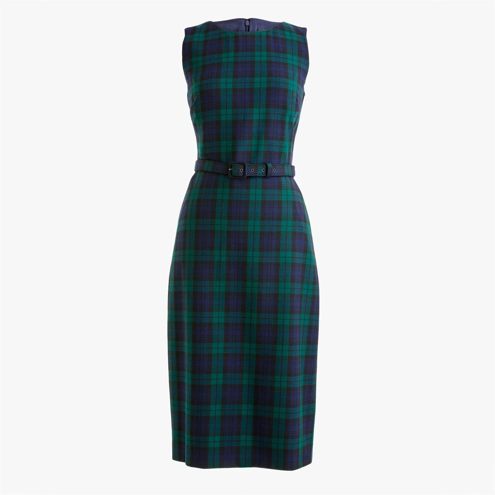 Belted sheath dress in Black Watch tartan