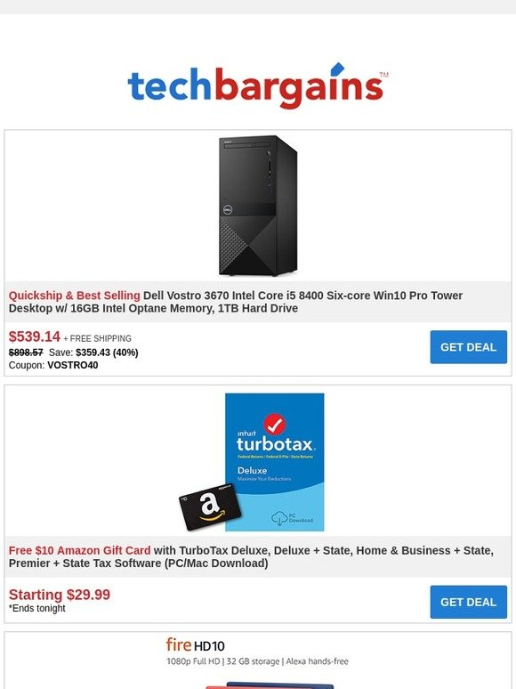 Techbargains: Free $10 Amazon Gift Card with TurboTax + Rare