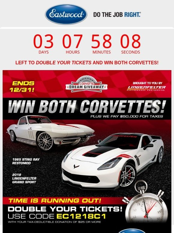 The Eastwood Company: Only Days Remain To Win 2 Corvettes