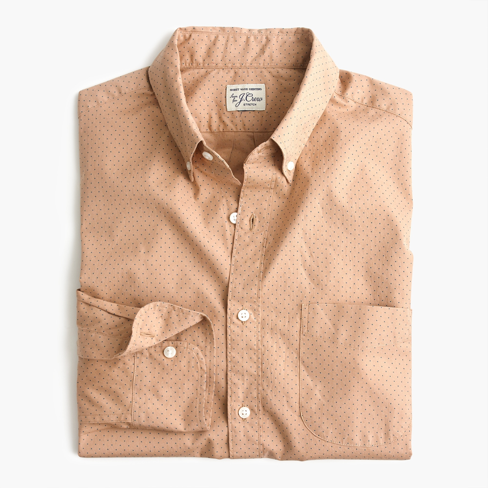 Slim stretch Secret Wash shirt in dotted bronze
