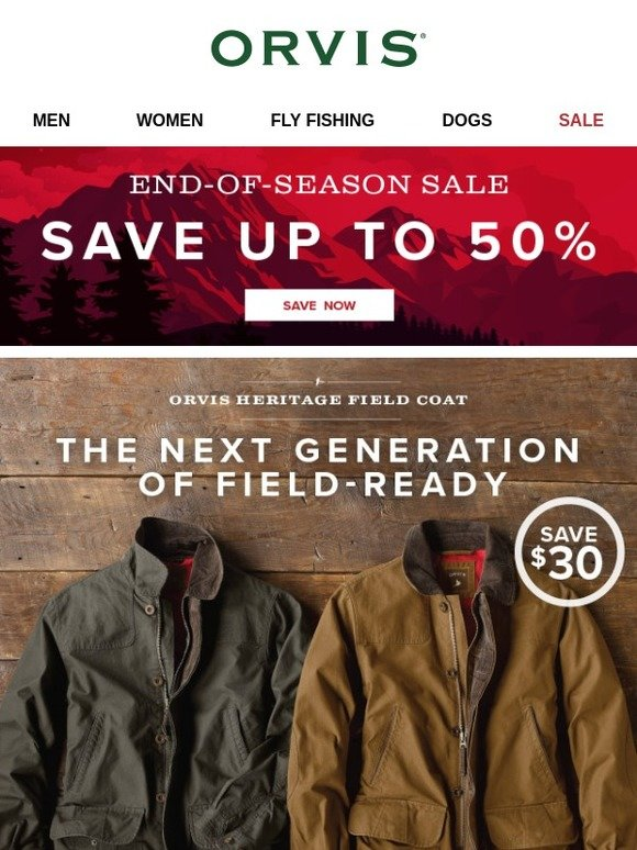 Orvis: Save $30 on the Orvis Heritage Field Coat  Don't miss