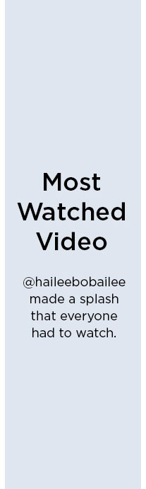 Most Watched Video   @haileebobailee made a splash that everyone had to watch.