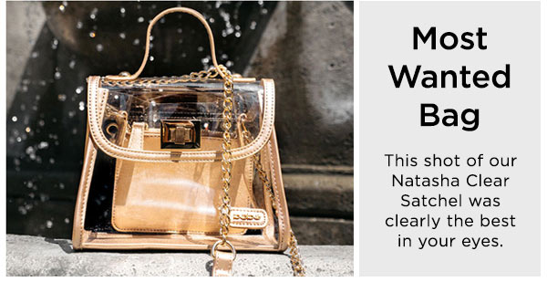 Most Wanted Handbag   This shot of our Natasha Clear Satchel was clearly the best in your eyes.