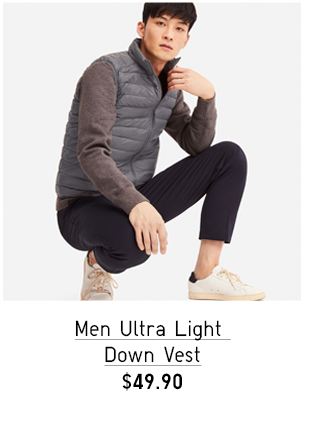 MEN ULTRA LIGHT DOWN COMPACT V-NECK PRINT VEST $29.90