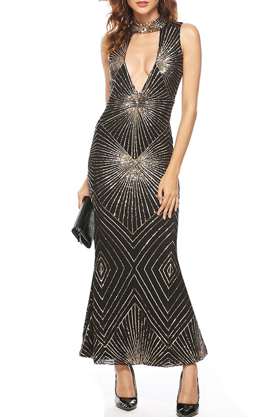 BETHANY DRESS IN BLACK AND GOLD