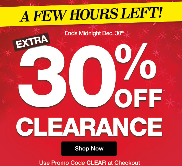 Get an Extra 30% OFF Clearance! Use promo code CLEAR at checkout.