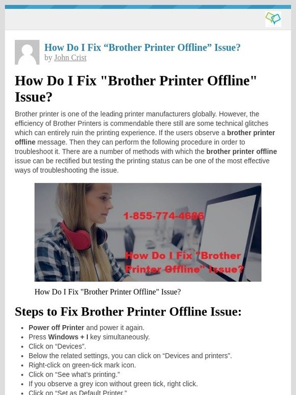 """Techy Support: [New post] How Do I Fix """"Brother Printer Offline"""