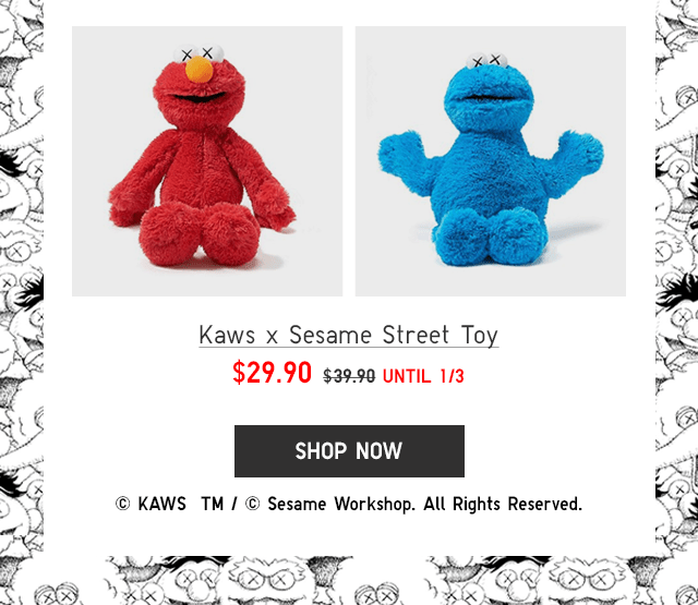 KAWS X SESAME STREET TOY $29.90