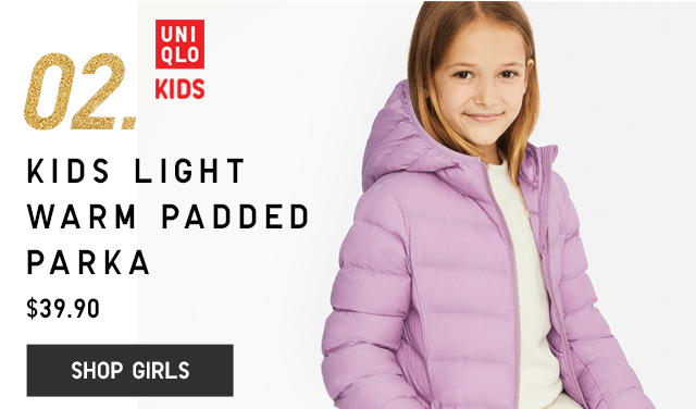02. KIDS LIGHT WARM PADDED PARKA $39.90 - SHOP GIRLS
