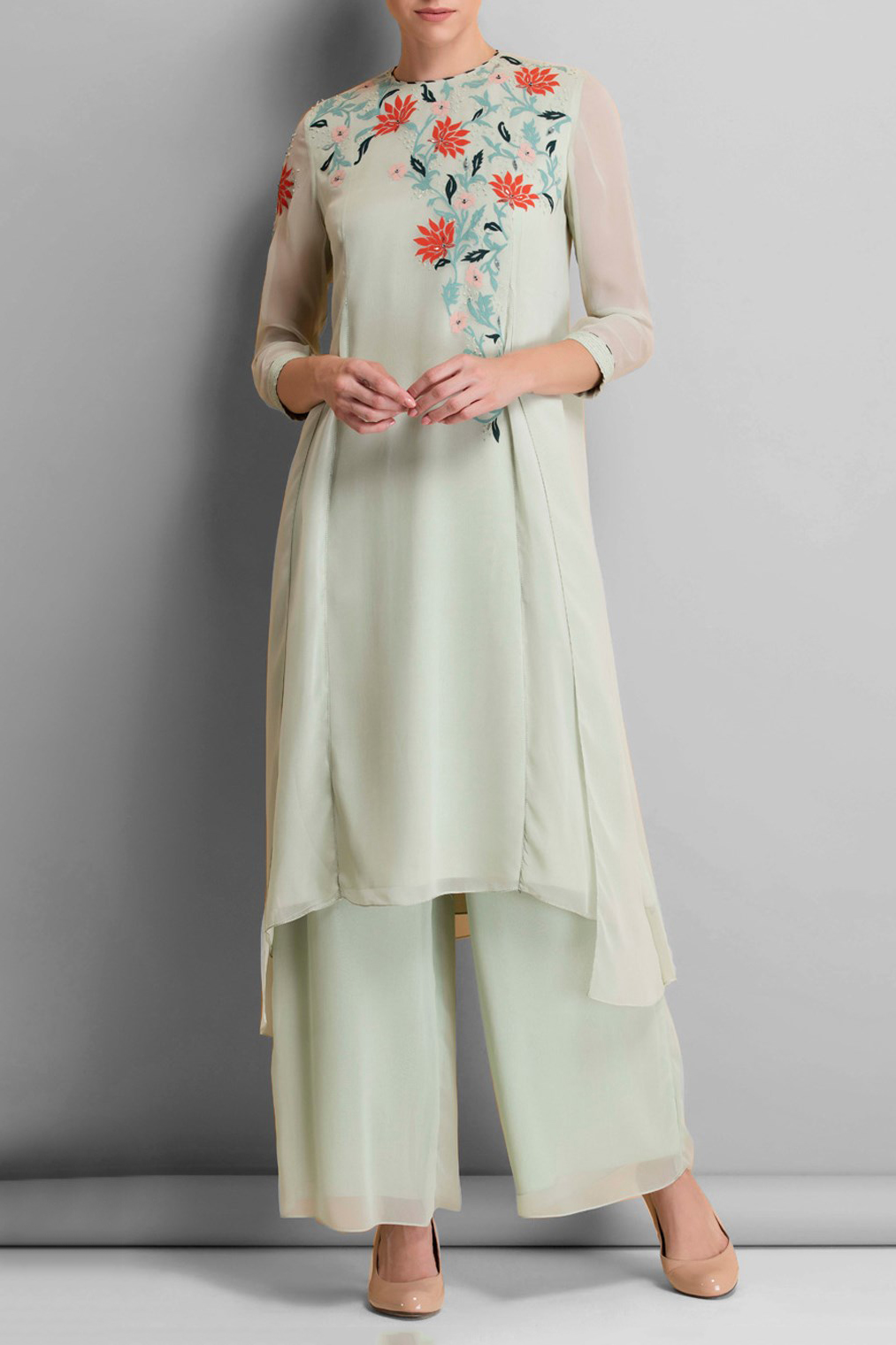 1d4030b6c359a Stitched Georgette Palazzo Pant Suit In Off White Colour Plus Size Up To 54