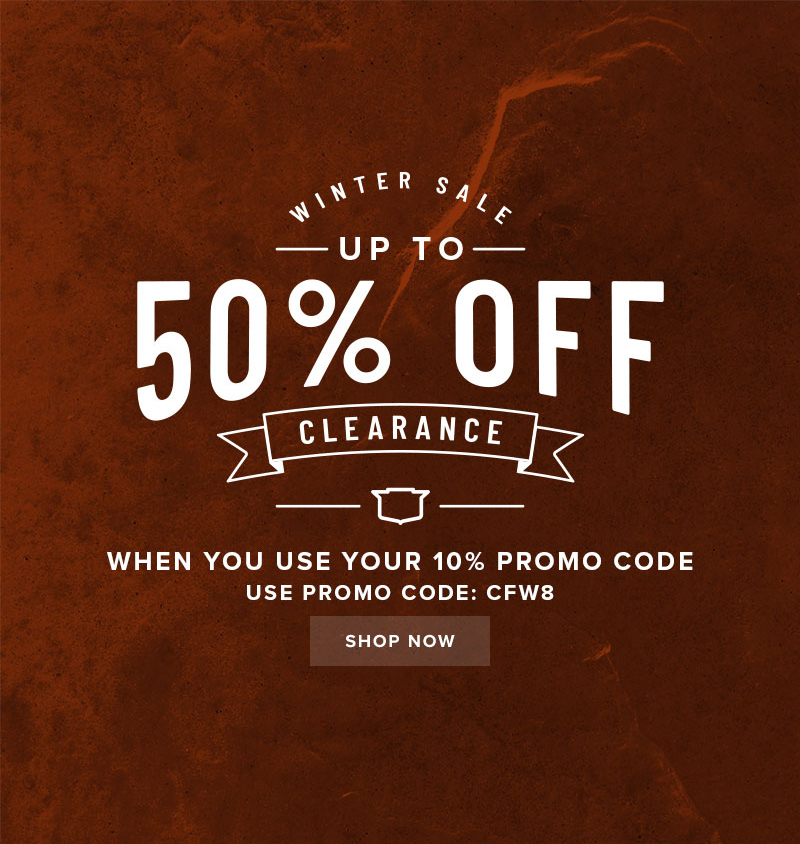 CLEARANCE SALE! Get up to 50% off clearance when you use your 10% off code CFW8 at checkout. Display images to learn more.