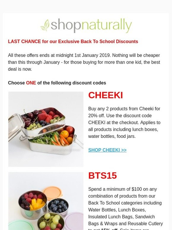 Shop Naturally Exclusive Back To School Discounts End Soon