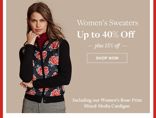 WOMEN'S SWEATERS UP TO 40% OFF