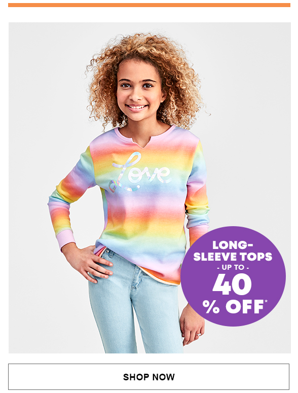 Long-Sleeve Tops Up to 40% Off