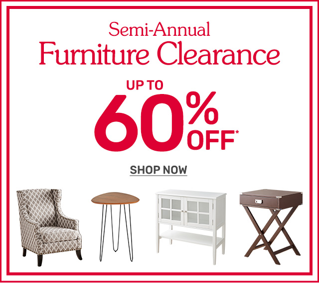Shop our semi-annual furniture clearance sale up to sixty percent off.