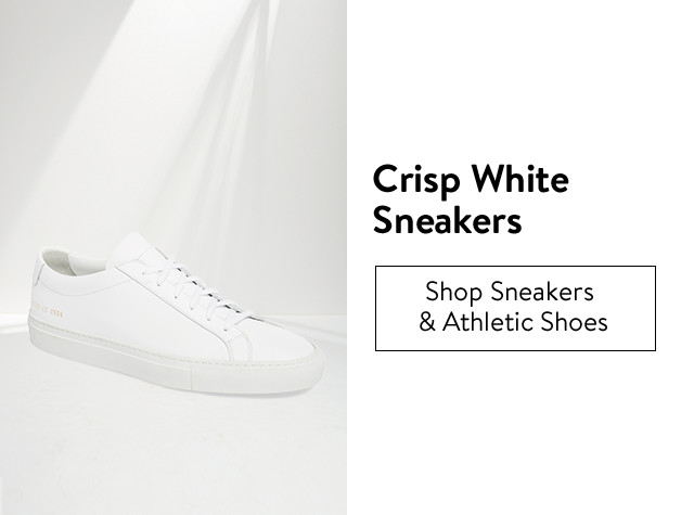 Crisp, white sneakers for men.