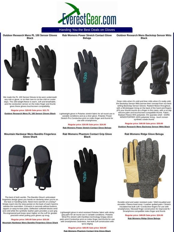Touch Screen Compatable Rab Womens Powerstretch Contact Glove