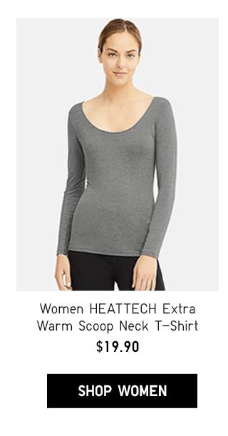 WOMEN HEATTECH EXTRA WARM SCOOP NECK T-SHIRT $19.90