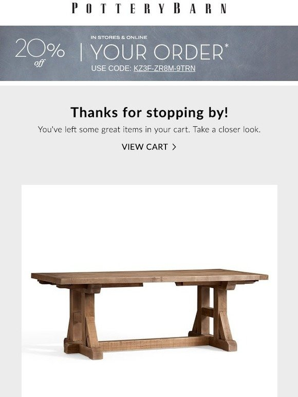 Pottery Barn Please Open Items Remain In Your Cart Plus