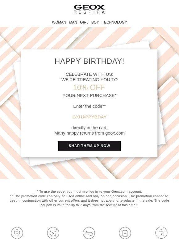 Huerta Triatleta carrera  Geox (UK): Happy birthday! 🎂 Celebrate your special day with us! | Milled