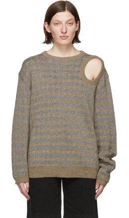 Raf Simons - Tan & Silver Jacquard Sweater