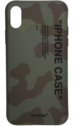 Off-White - Green Camo Quote iPhone X Case