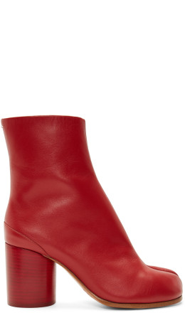 Maison Margiela - SSENSE Exclusive Red Leather Tabi Boots