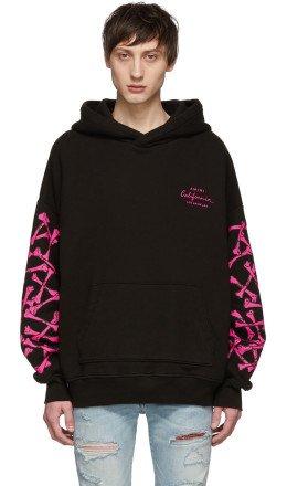 Amiri - Black & Pink Bones Hoodie