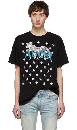 Amiri - Black Leopard Star T-Shirt