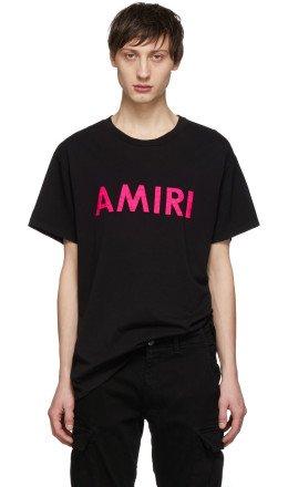 Amiri - Black & Pink Logo T-Shirt