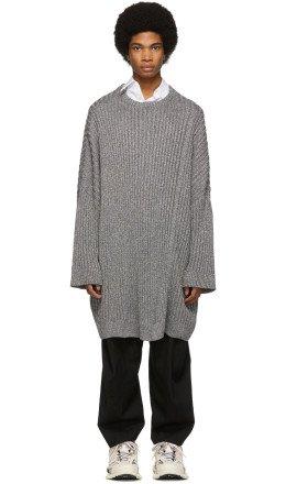 Raf Simons - Grey Oversized Lurex Sweater