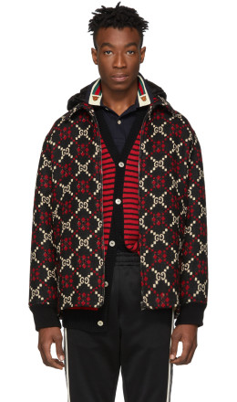 Gucci - Red & Black Wool Macro GG Diamond Jacket