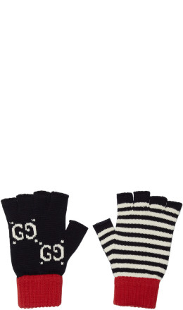 Gucci - Navy & Red Striped GG Gloves