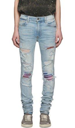Amiri - Indigo Rainbow Bandana Jeans