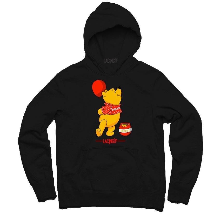 5335ede78c2b Winnie the pooh bear living the good life black hoodie-Lacing Up