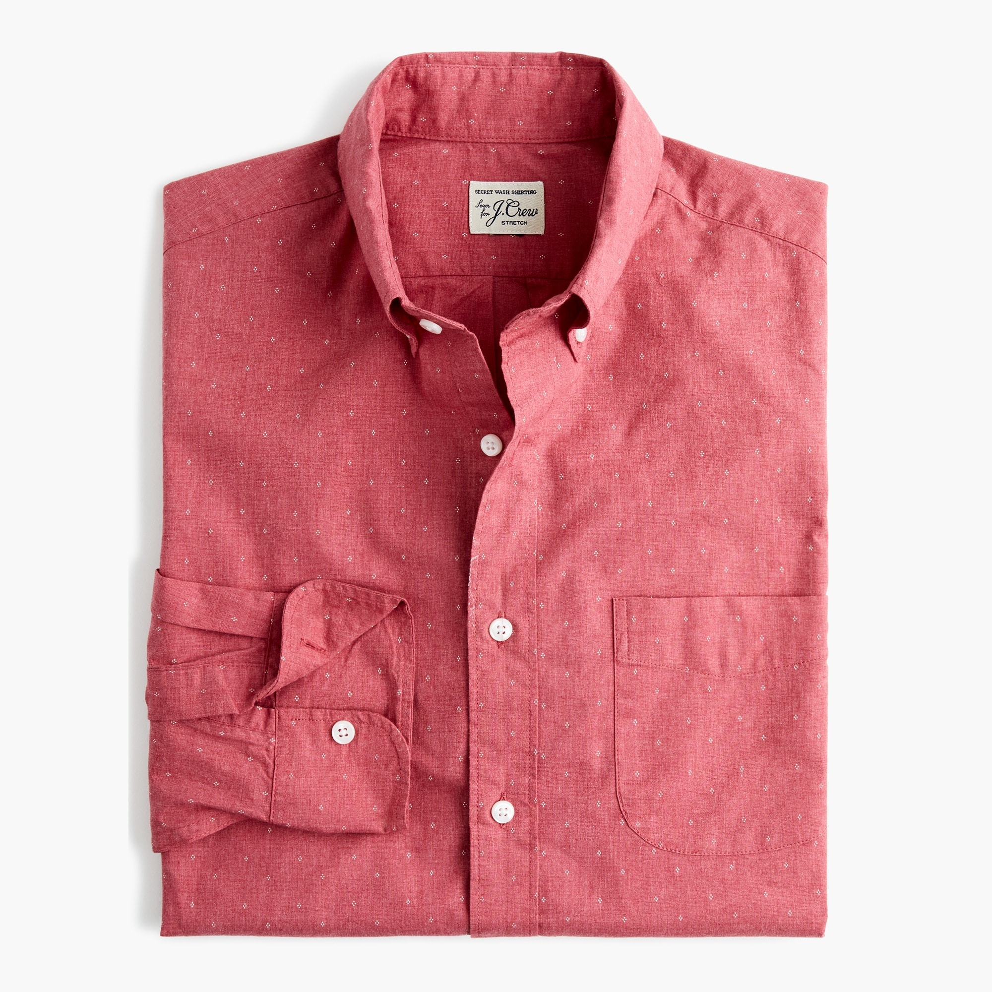 Classic Stretch Secret Wash shirt in heathered red print